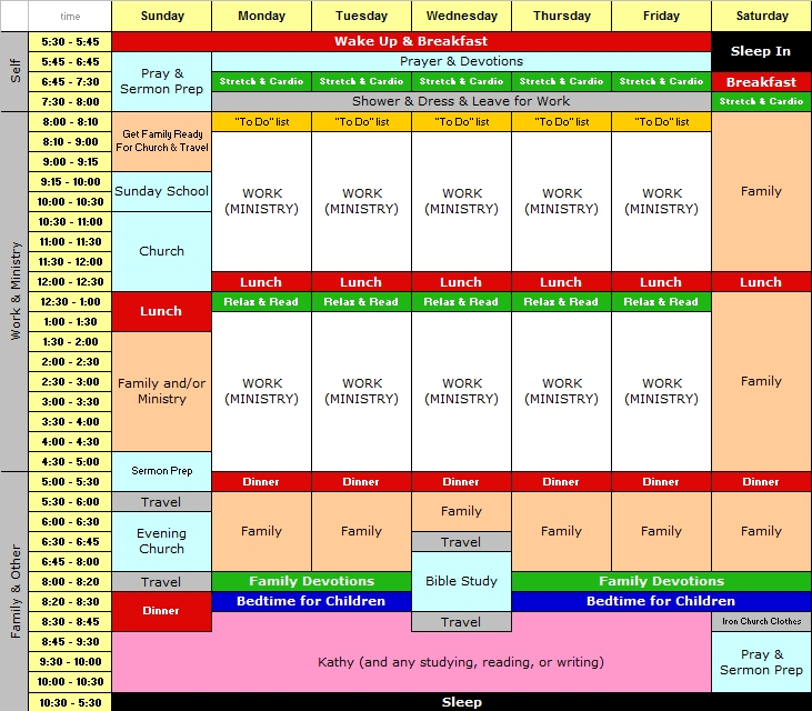Sample Week Schedule Template Zesloka